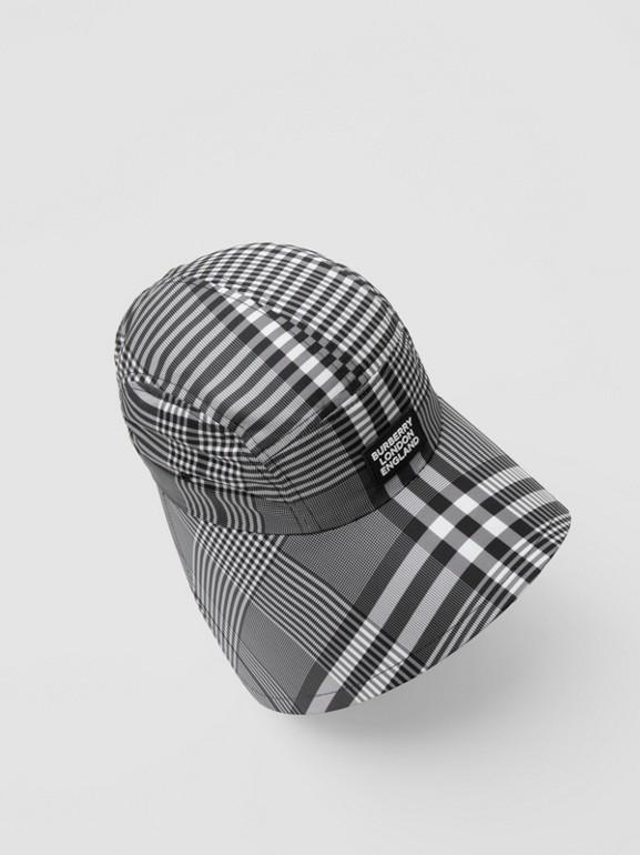 Logo Appliqué Check Bonnet Cap in Black/white | Burberry United Kingdom - cell image 1
