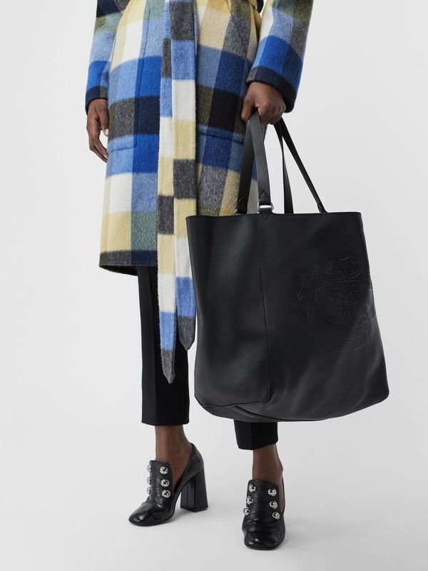Large Embossed Crest Bonded Leather Tote in Black | Burberry Canada - cell image 3