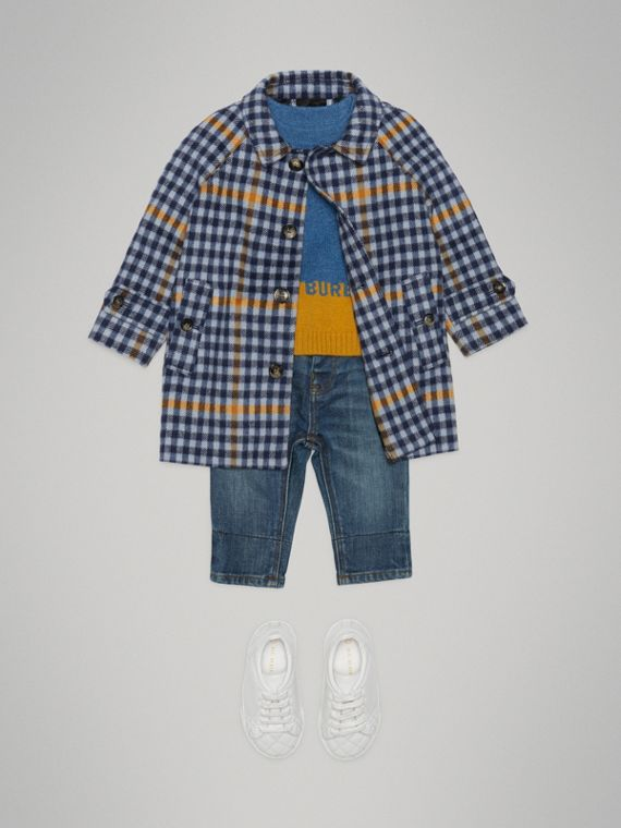 Check Wool Car Coat in Canvas Blue