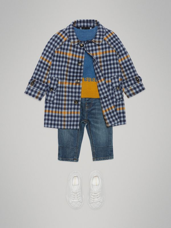 Check Wool Car Coat in Canvas Blue - Children | Burberry - cell image 2