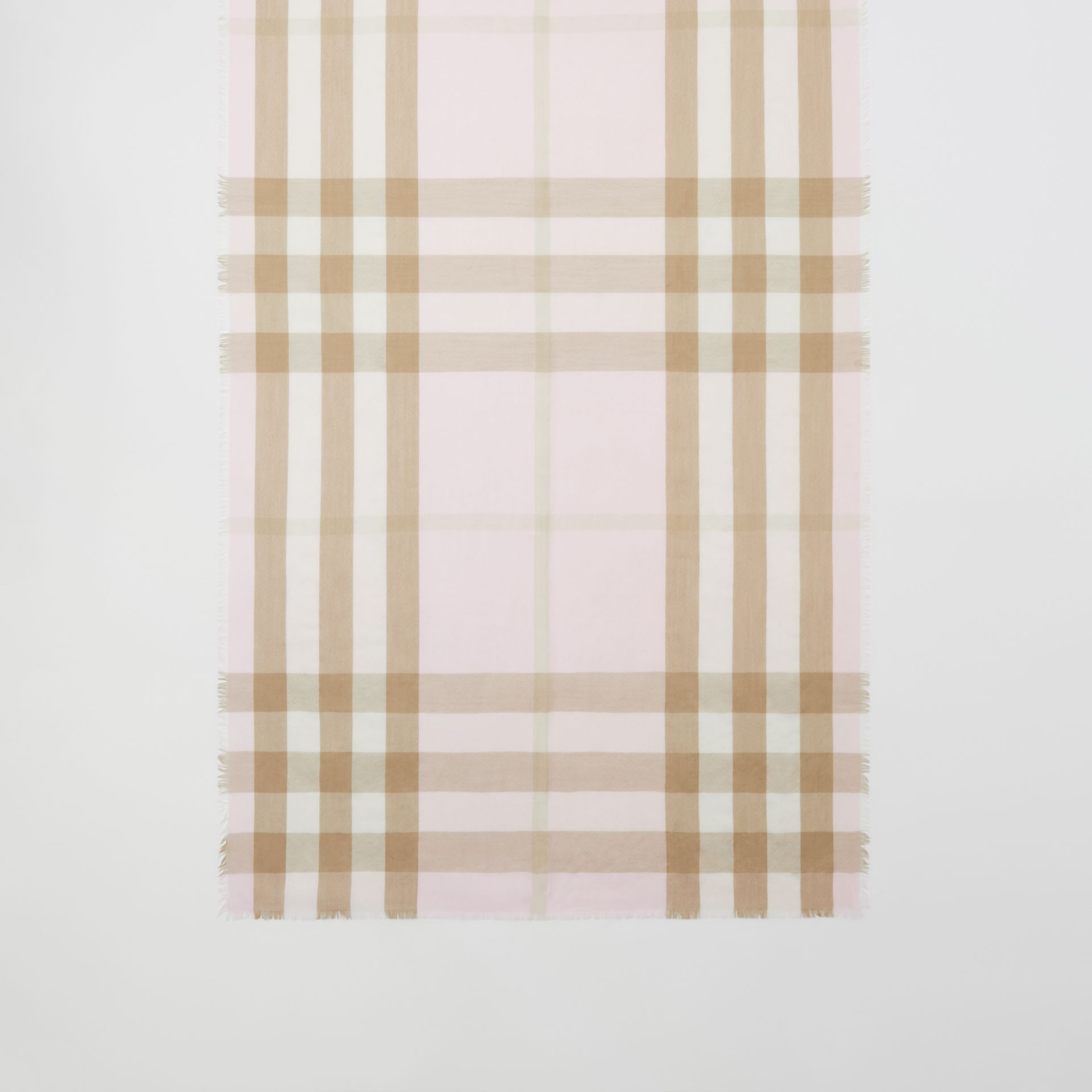 Lightweight Check Cashmere Scarf in Alabaster | Burberry - gallery image 2