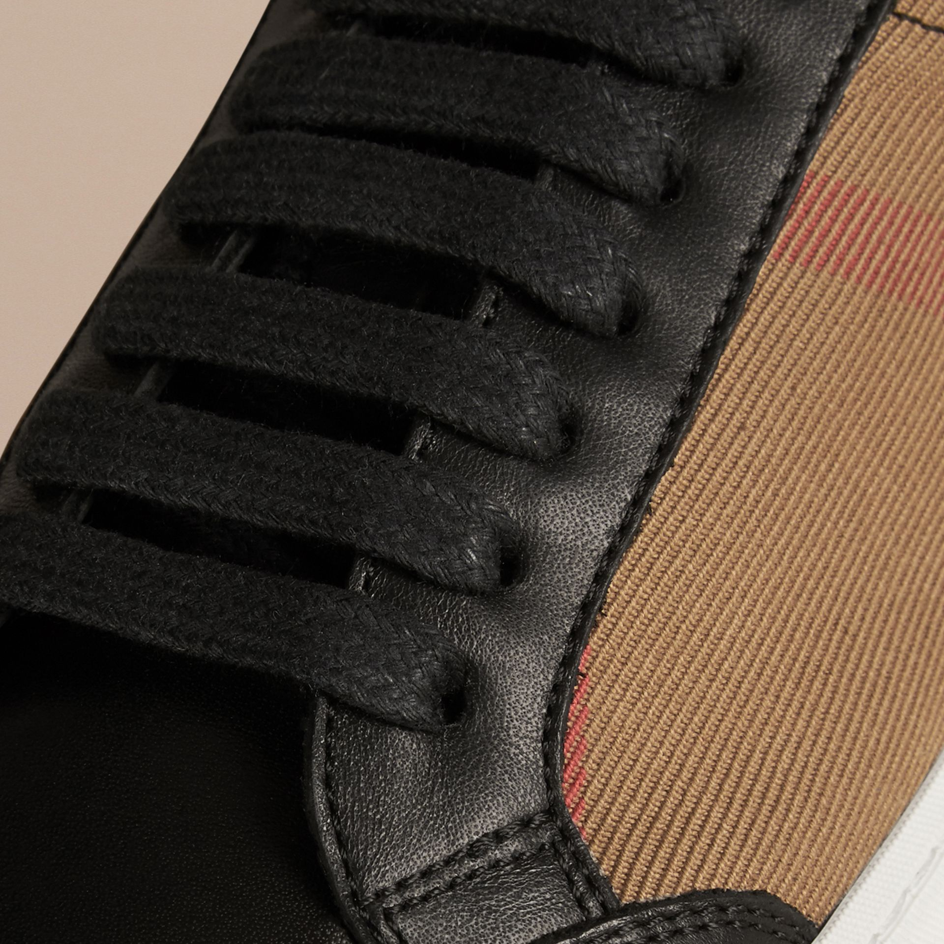 House check/noir Tennis en coton House check et cuir - photo de la galerie 2
