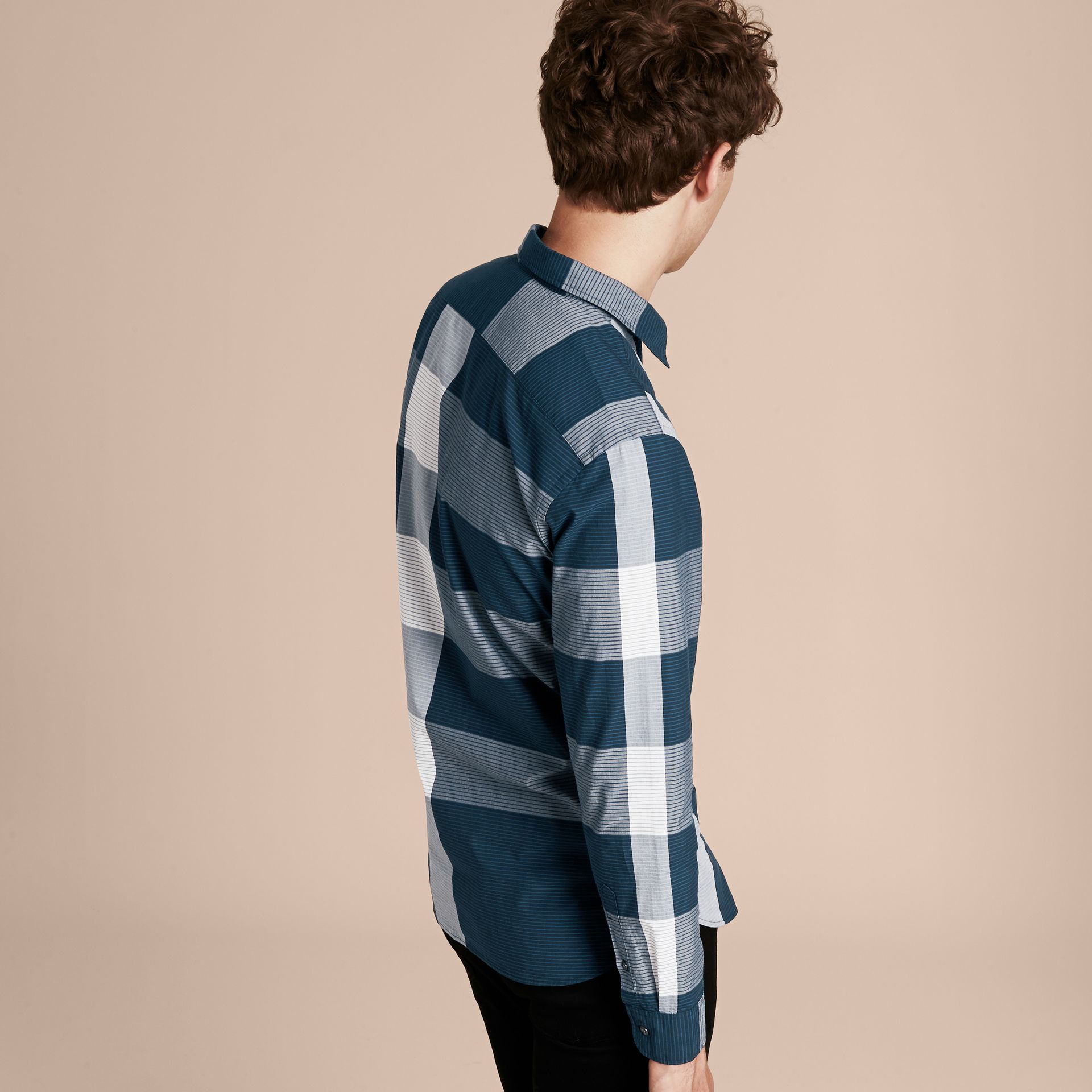Bright steel blue Graphic Check Cotton Shirt Bright Steel Blue - gallery image 3