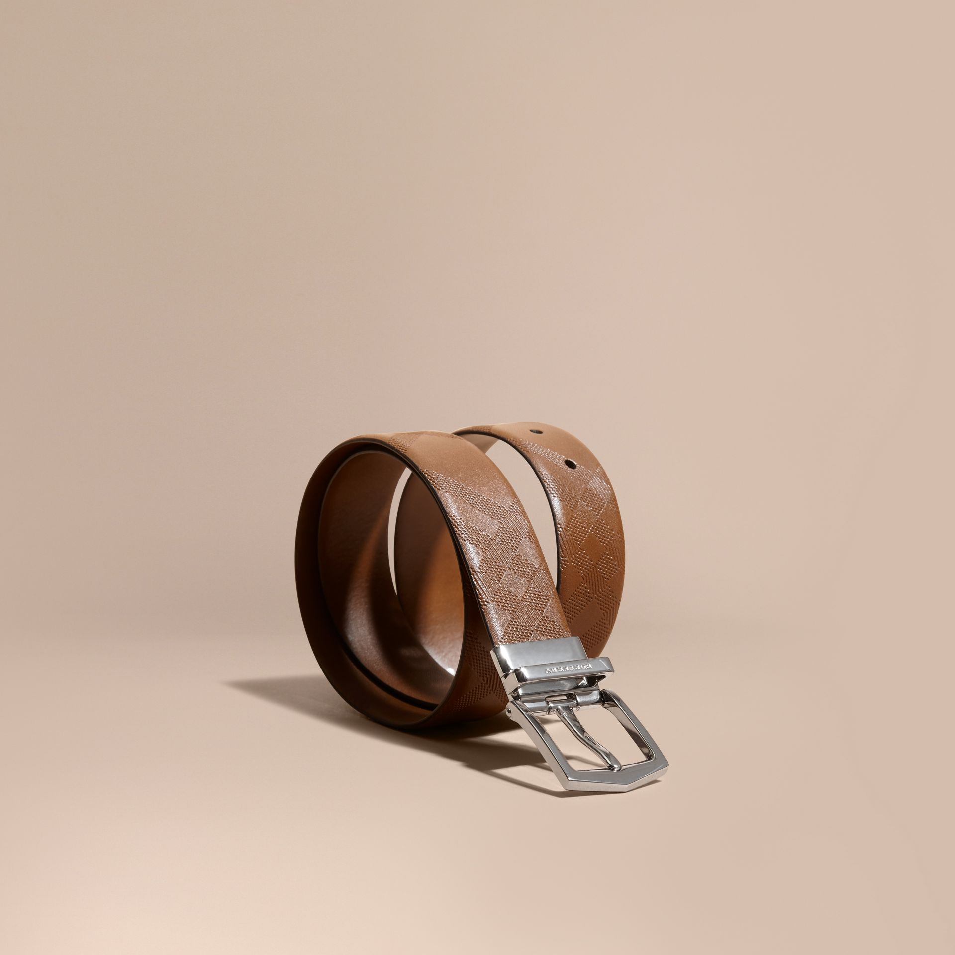Tan Reversible Embossed Check Leather Belt Tan - gallery image 1