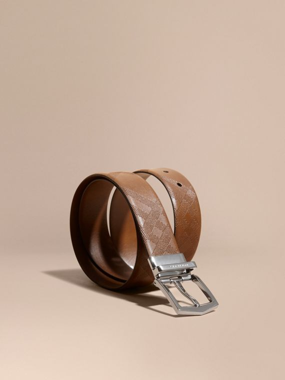 Reversible Embossed Check Leather Belt Tan