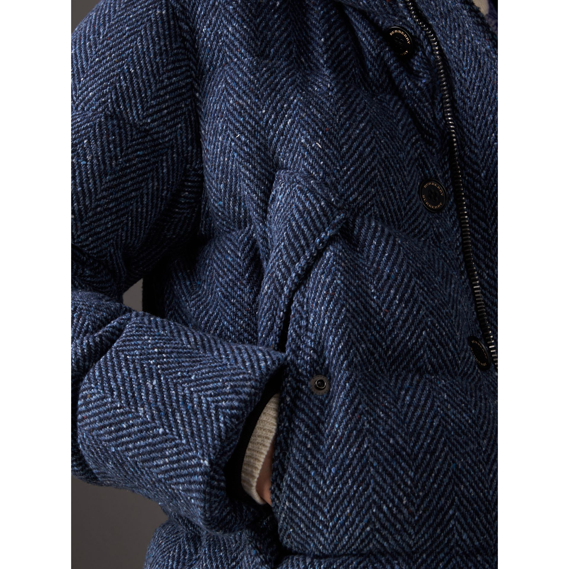 Short Detachable Fur Trim Down-filled Cashmere Parka in Dark Navy - Men | Burberry - gallery image 1