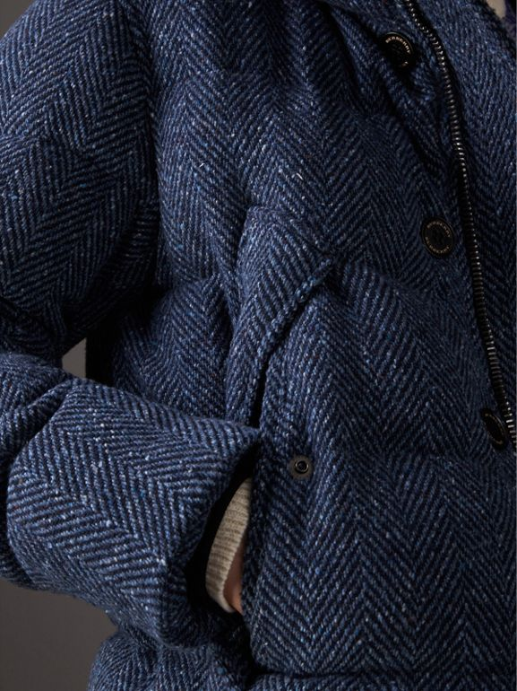 Short Detachable Fur Trim Down-filled Cashmere Parka in Dark Navy - Men | Burberry - cell image 1