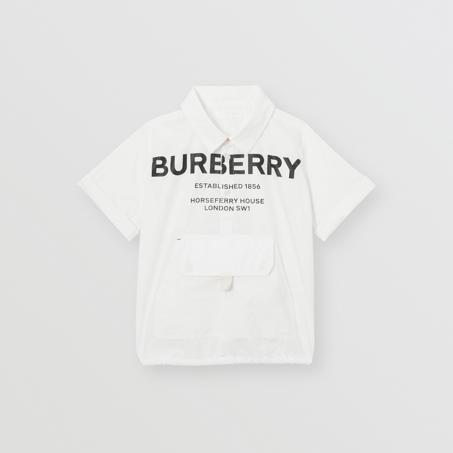 Short-sleeve Horseferry Print Cotton Shirt in White | Burberry - gallery image 0