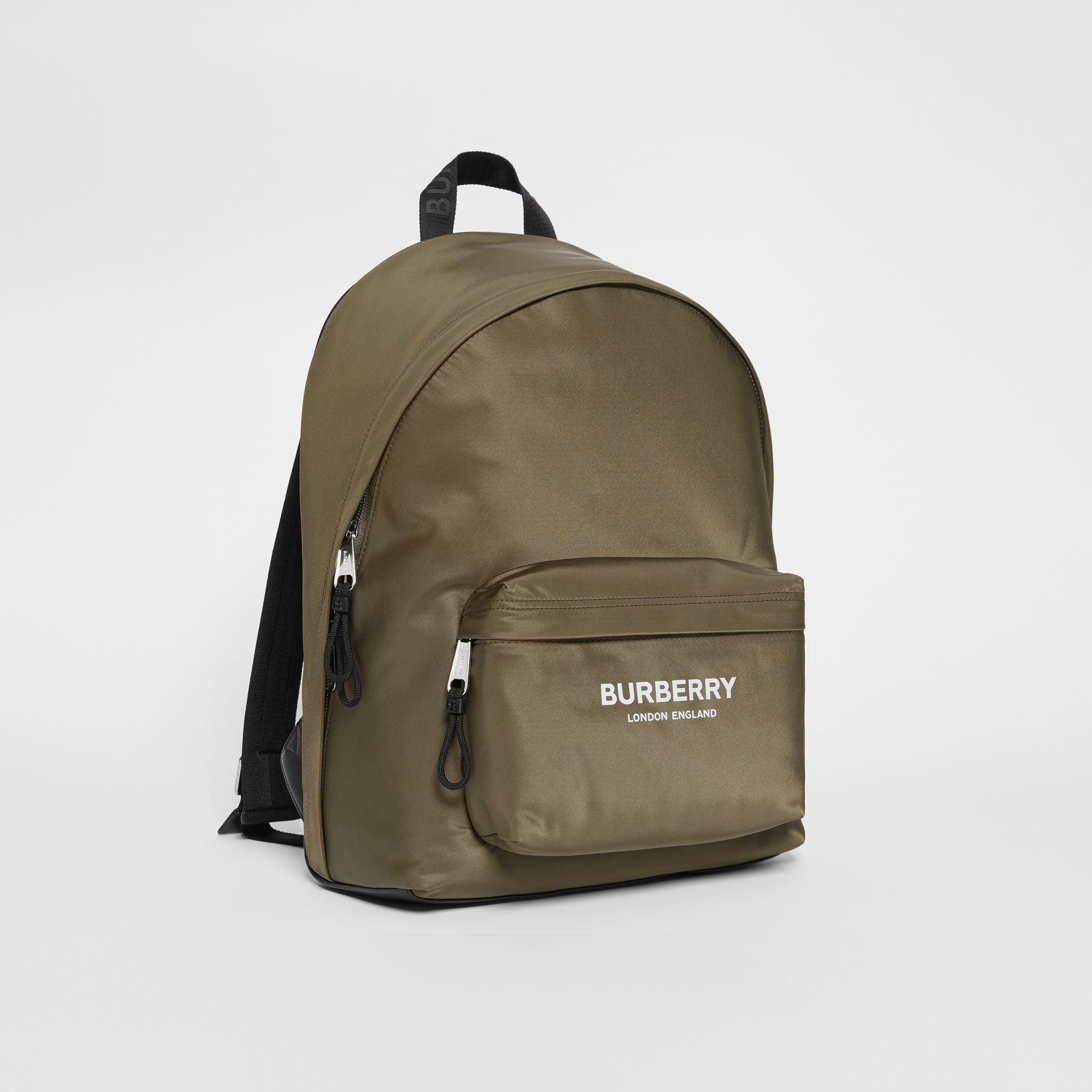 Logo Print Nylon Backpack in Canvas Green - Men | Burberry - gallery image 3