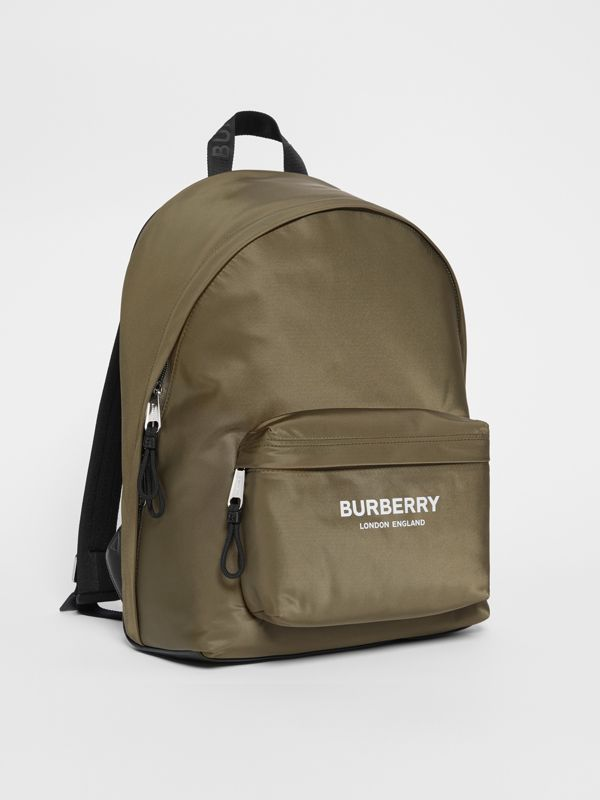 Logo Print Nylon Backpack in Canvas Green - Men | Burberry - cell image 3
