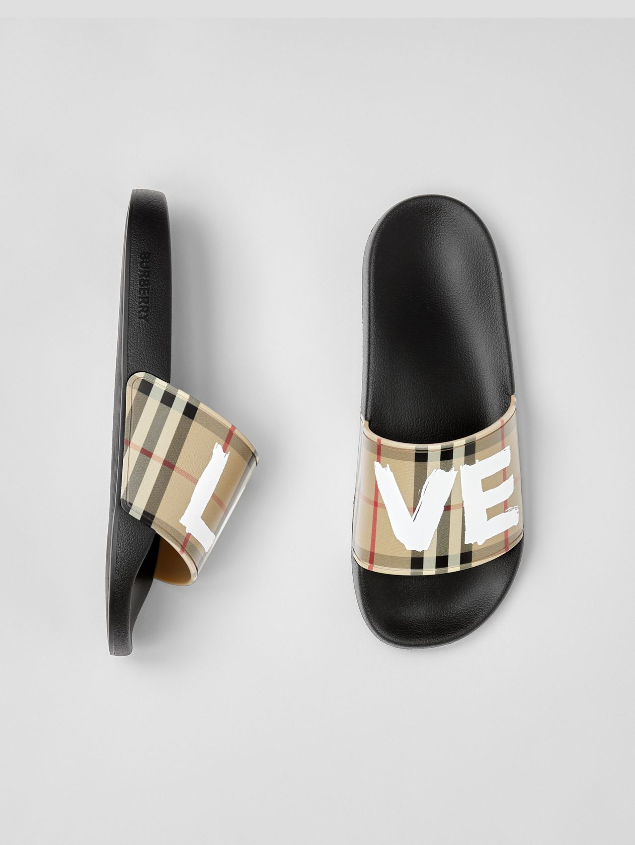 Love Print Vintage Check Slides in Archive Beige