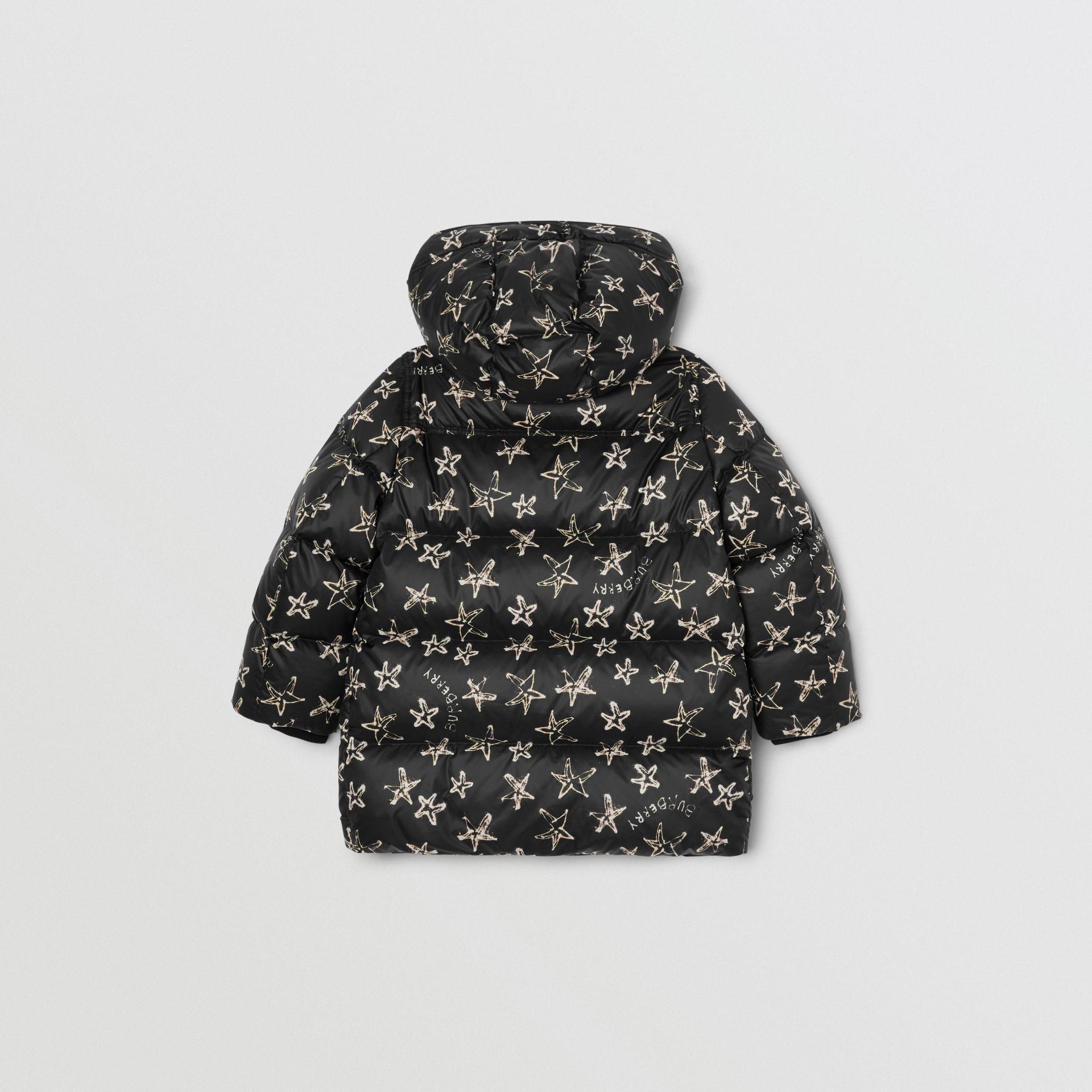 Sparkler Print Hooded Puffer Coat in Black | Burberry - gallery image 3