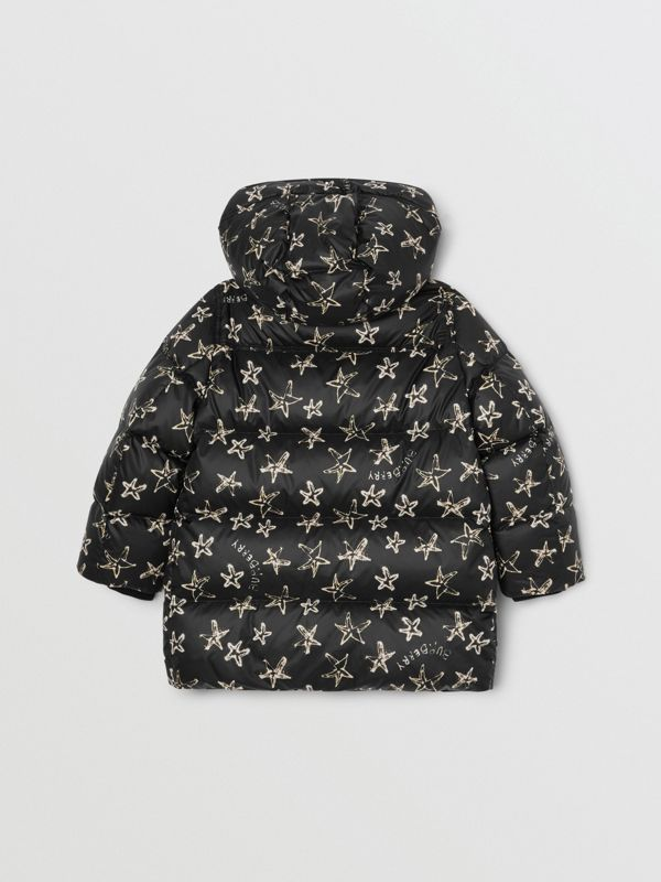 Sparkler Print Hooded Puffer Coat in Black | Burberry - cell image 3