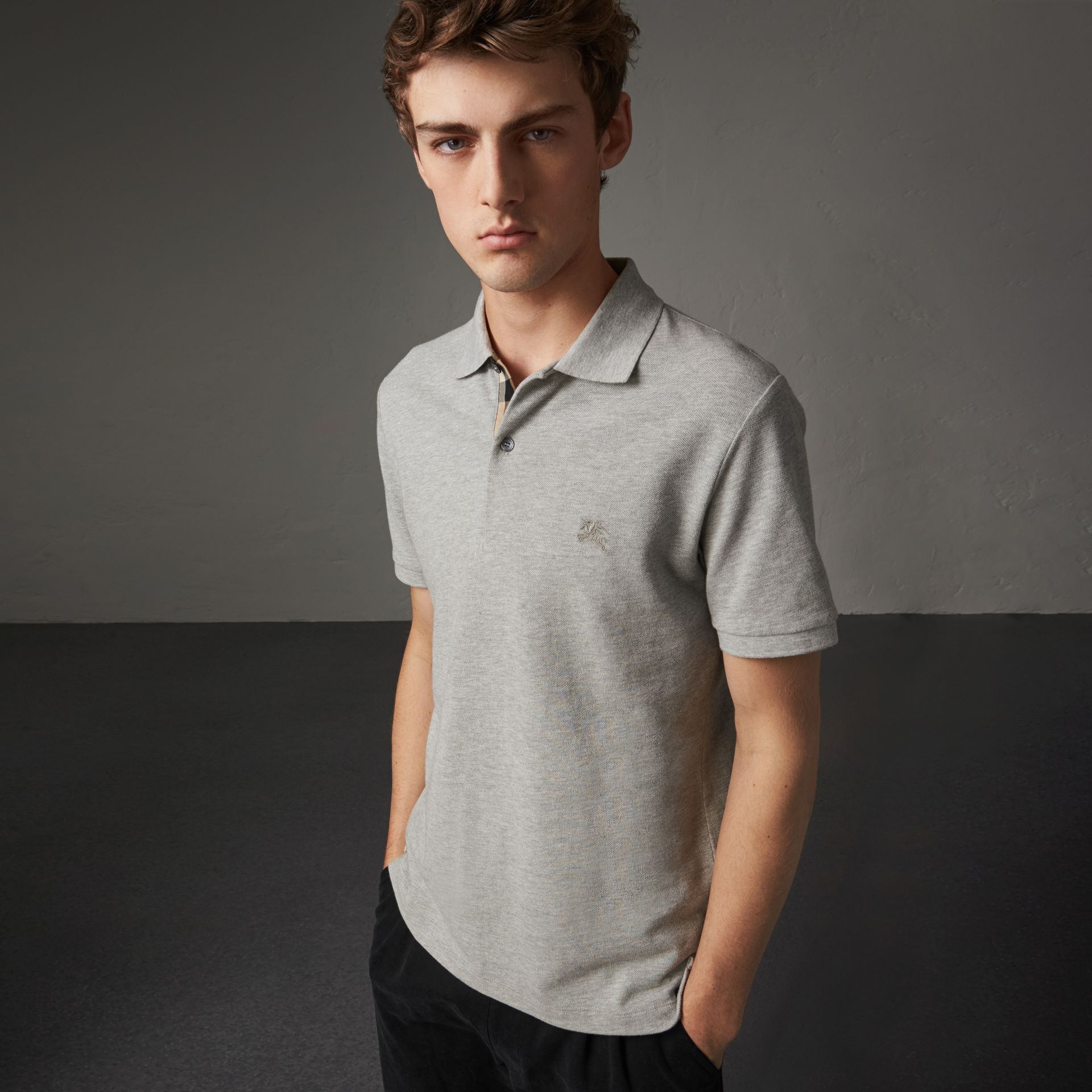 Check Placket Cotton Piqué Polo Shirt in Pale Grey Melange - Men | Burberry - gallery image 0