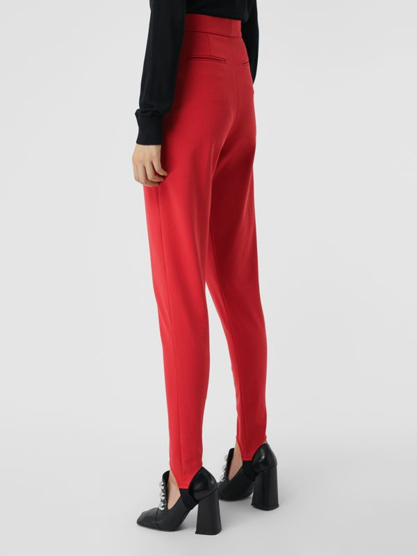 Long Cotton Blend Tailored Jodhpurs in Bright Red - Women | Burberry - cell image 2