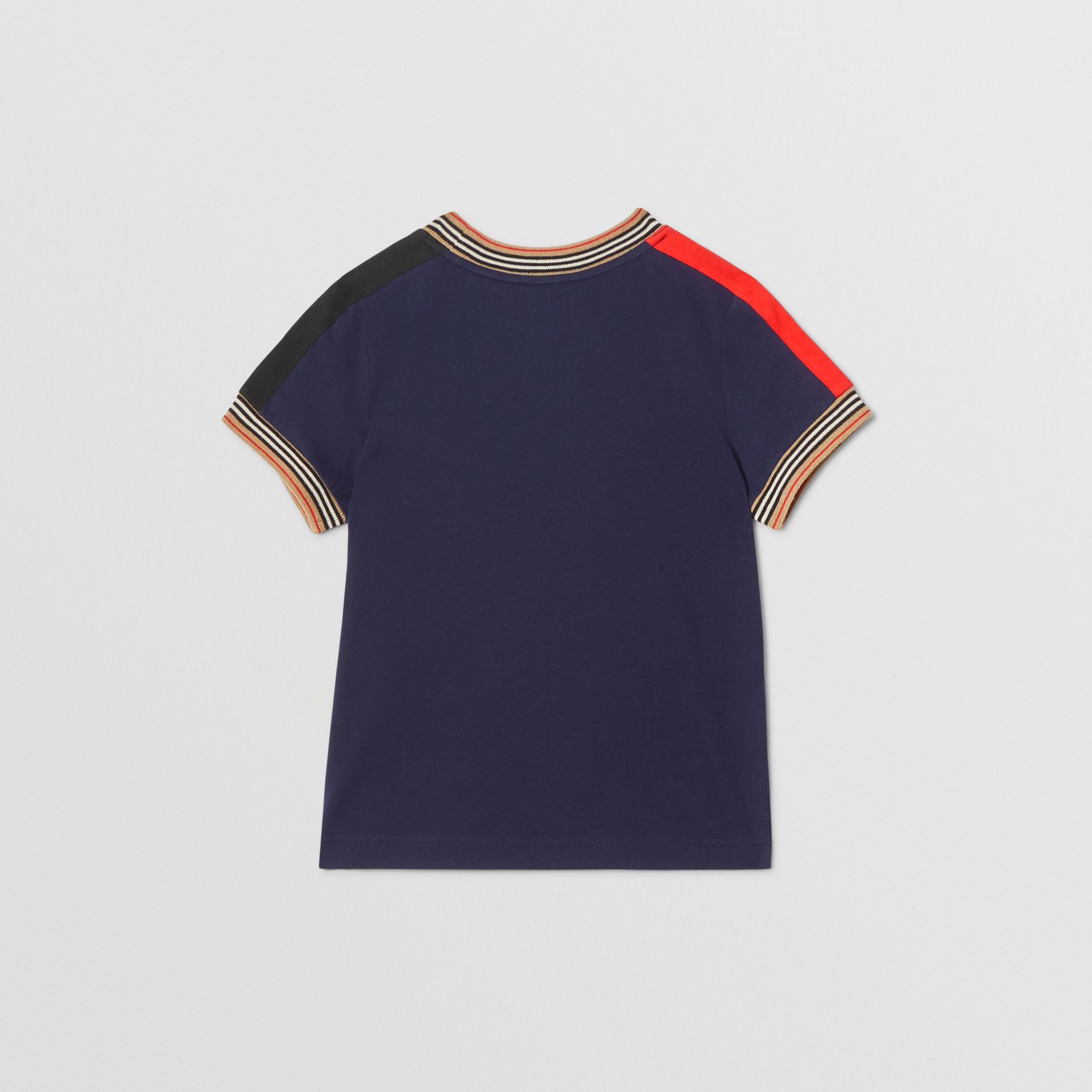 Icon Stripe Trim Cotton T-shirt in Navy | Burberry United Kingdom - gallery image 3