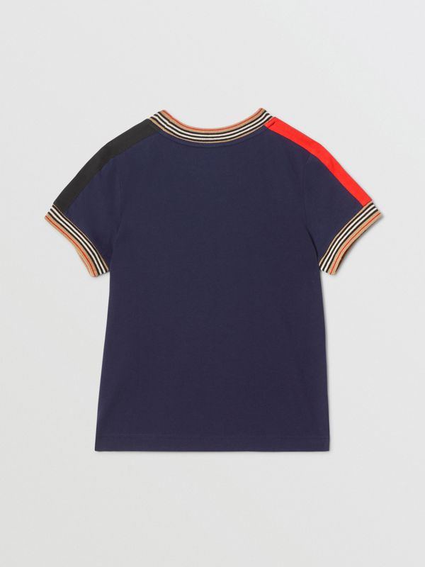 Icon Stripe Trim Cotton T-shirt in Navy | Burberry United Kingdom - cell image 3