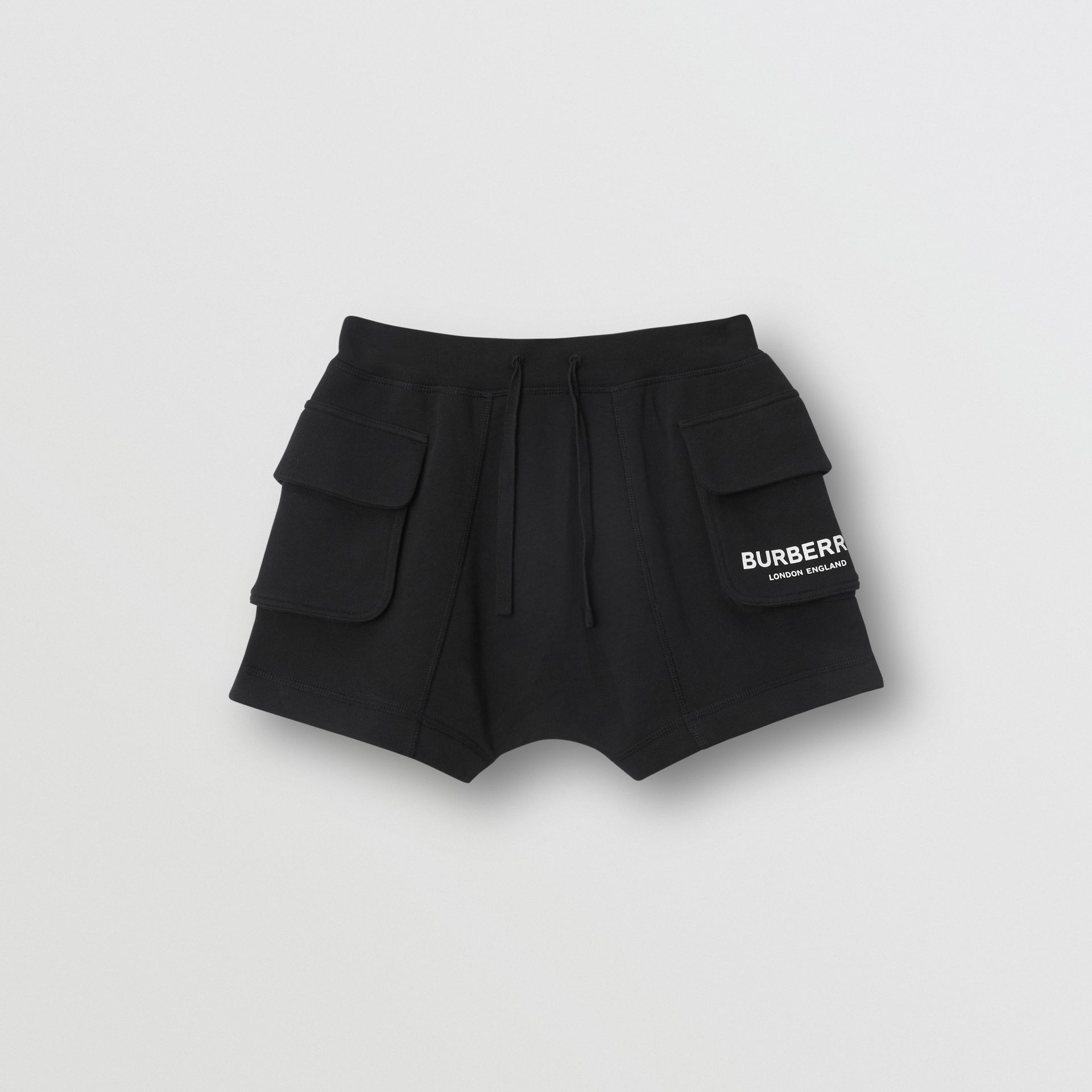 Logo Print Cotton Drawcord Shorts in Black | Burberry - gallery image 0