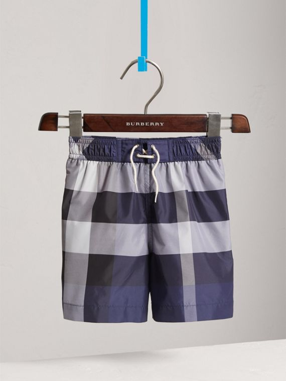 Check Technical Swim Shorts in Ink