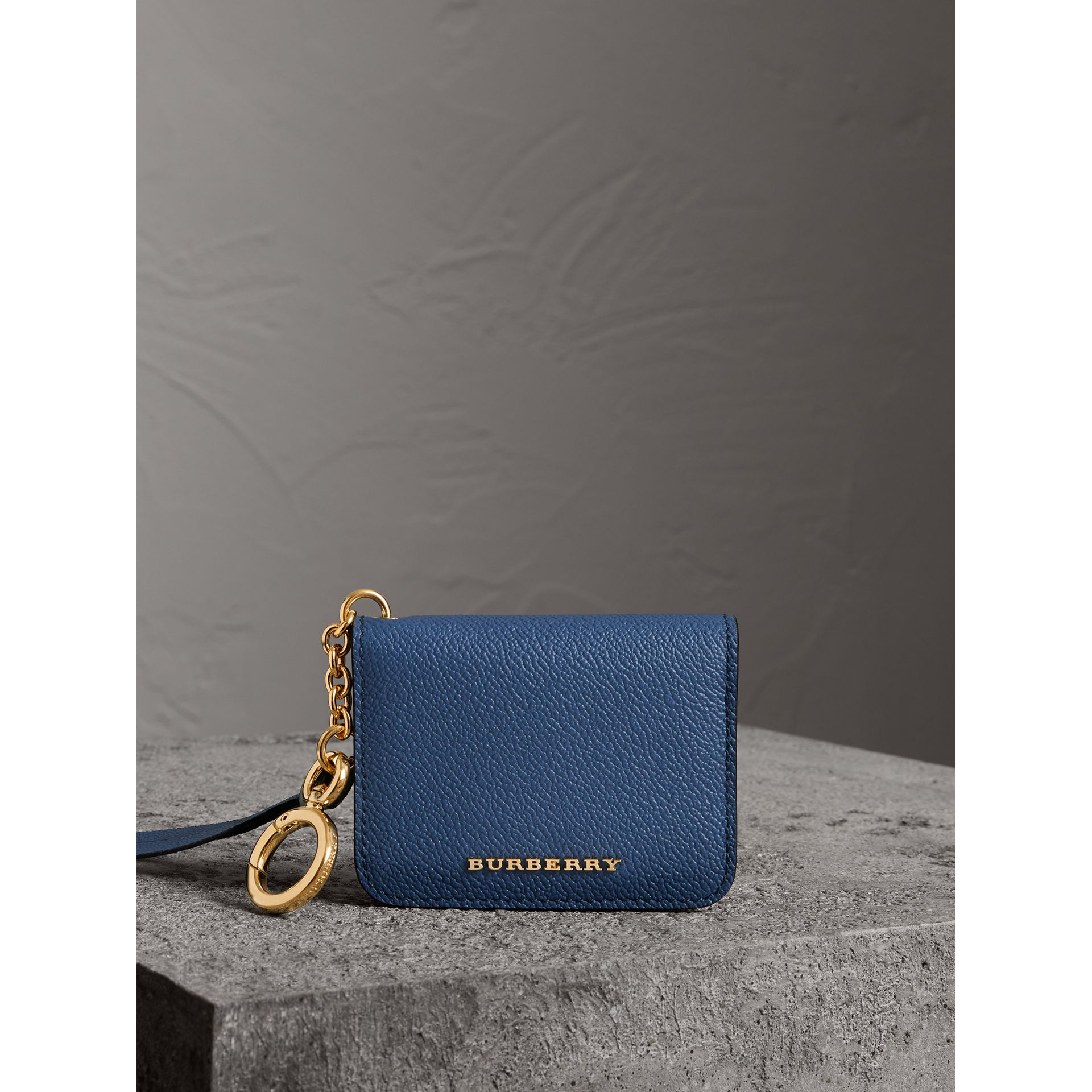 Leather and Haymarket Check ID Card Case Charm in Steel Blue/multi - Women | Burberry - gallery image 4