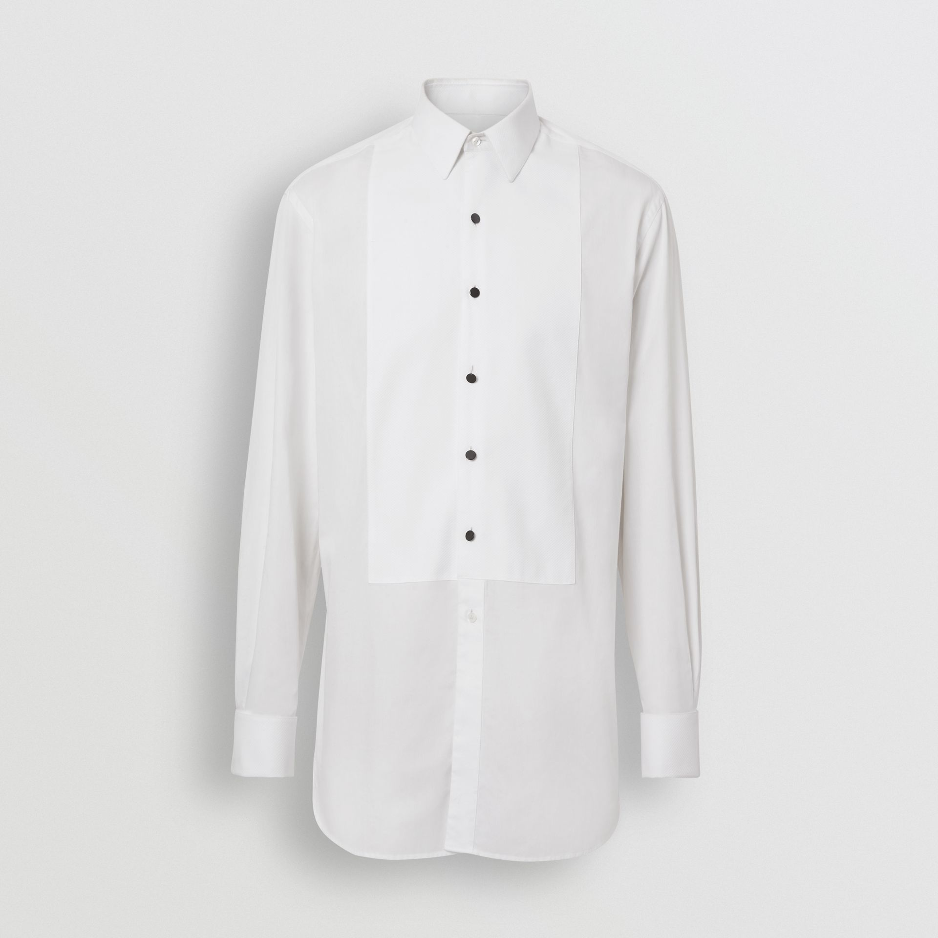 Modern Fit Panelled Bib Cotton Twill Evening Shirt in White - Men | Burberry - gallery image 3