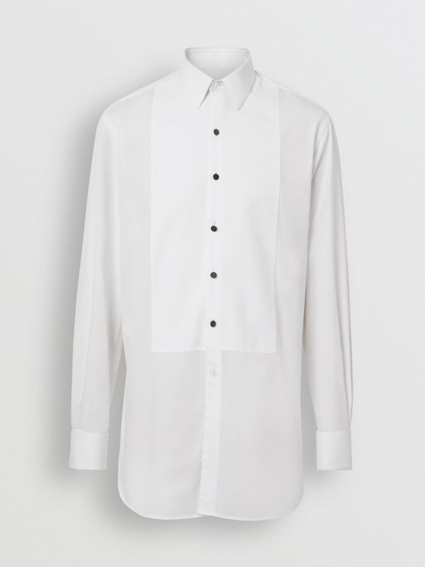 Modern Fit Panelled Bib Cotton Twill Evening Shirt in White - Men | Burberry Canada - cell image 3