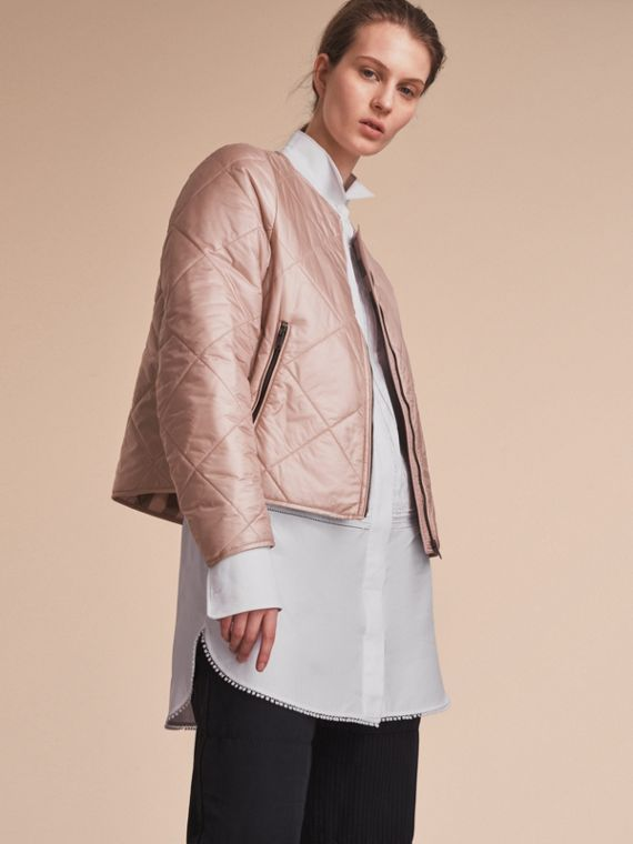 Collarless Diamond Quilted Lightweight Jacket