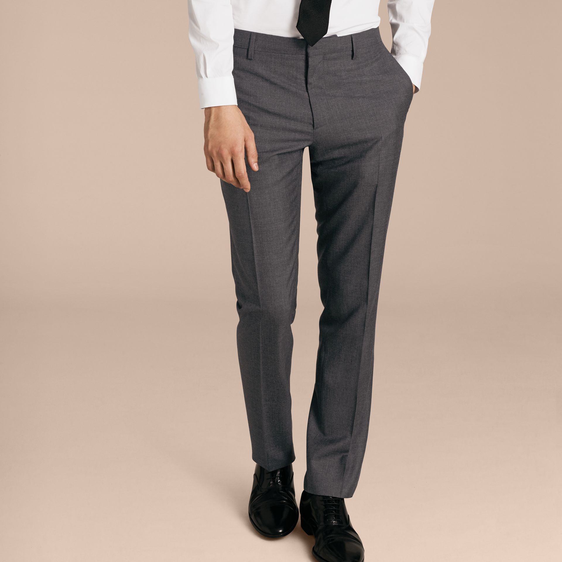Modern Fit Wool Part-canvas Suit in Charcoal - Men | Burberry - gallery image 9