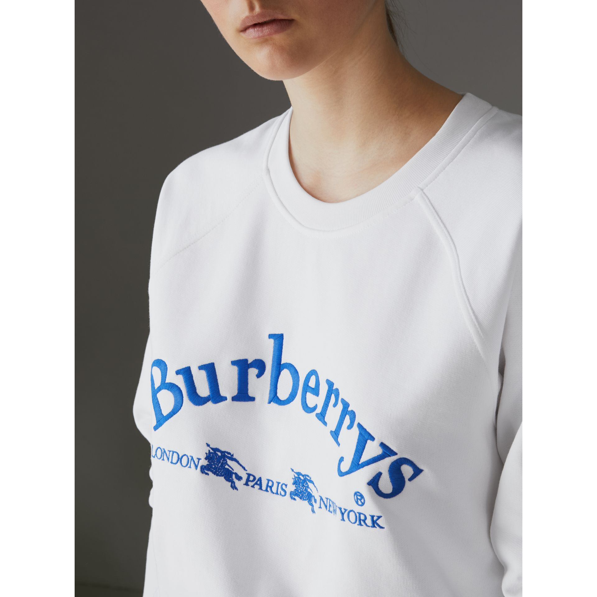 Embroidered Archive Logo Jersey Sweatshirt in White - Women | Burberry - gallery image 1