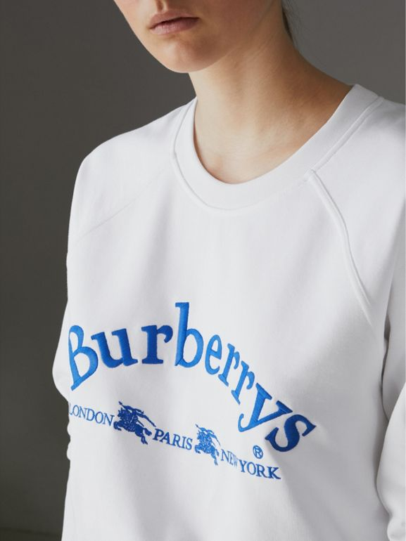 Embroidered Archive Logo Jersey Sweatshirt in White - Women | Burberry United Kingdom - cell image 1
