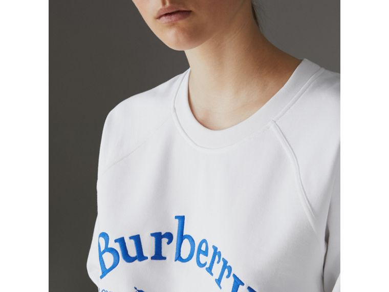 Embroidered Archive Logo Jersey Sweatshirt in White - Women | Burberry - cell image 1