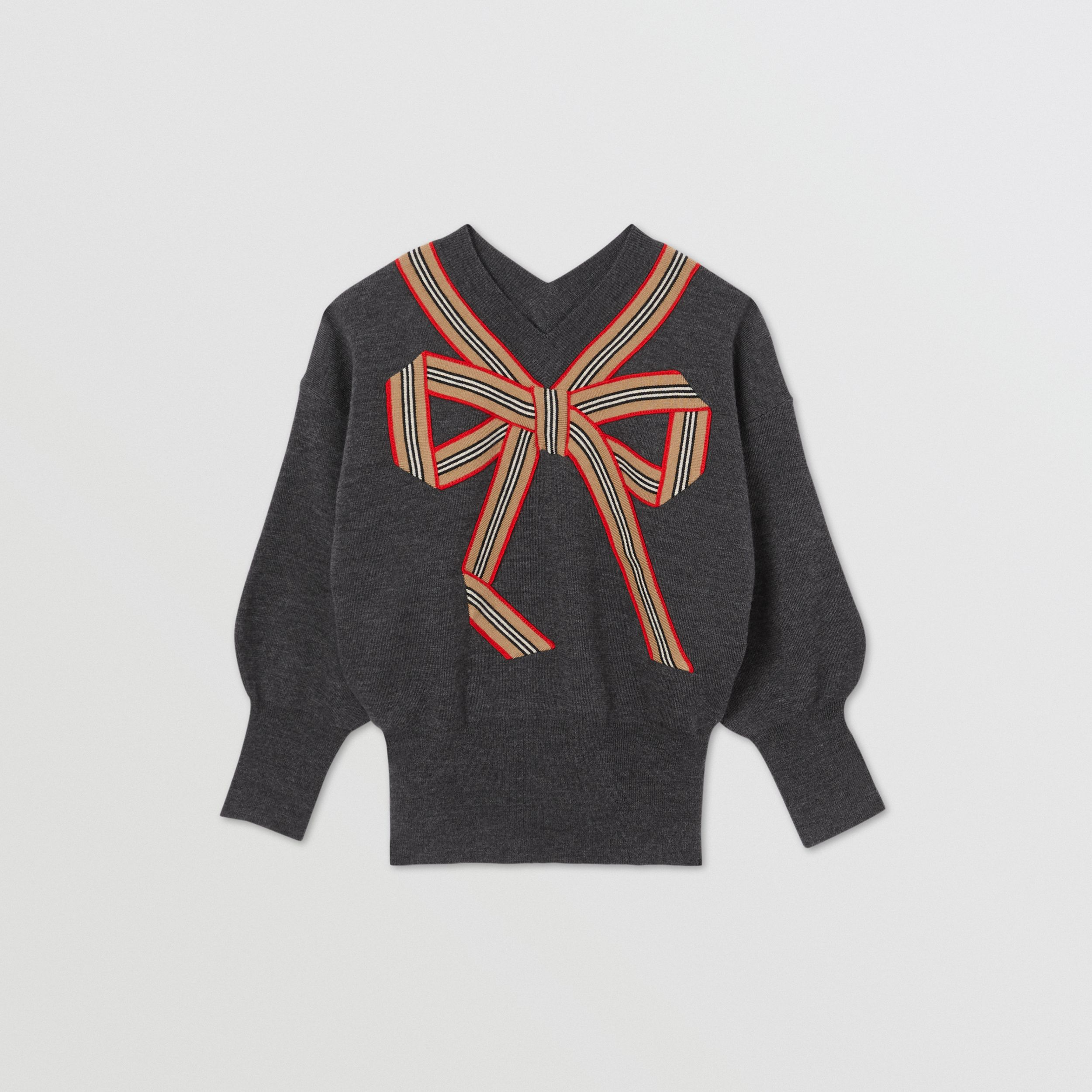 Icon Stripe Bow Merino Wool Silk Sweater | Burberry Australia - 1