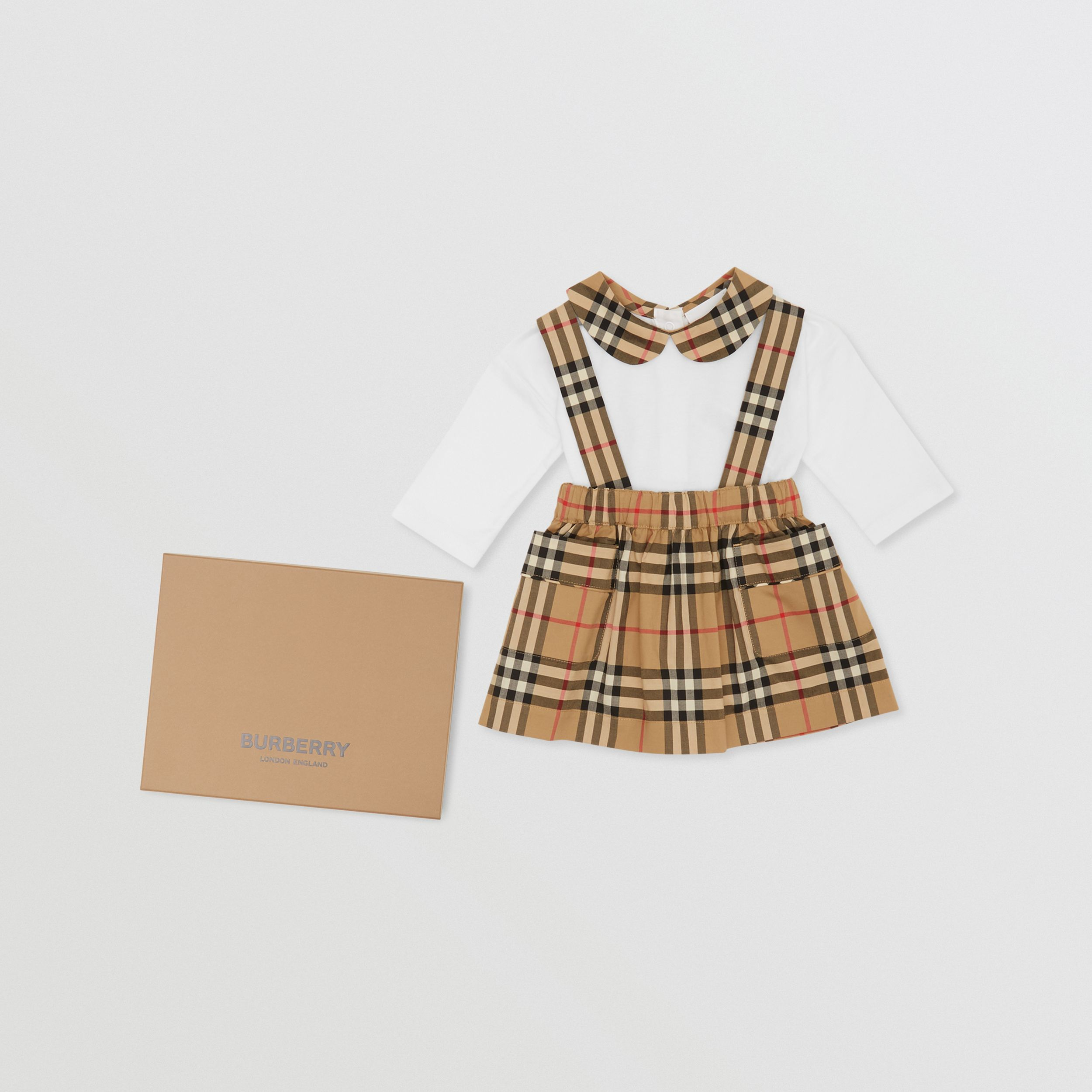 Vintage Check Organic Cotton Two-piece Baby Gift Set in White - Children | Burberry - 1