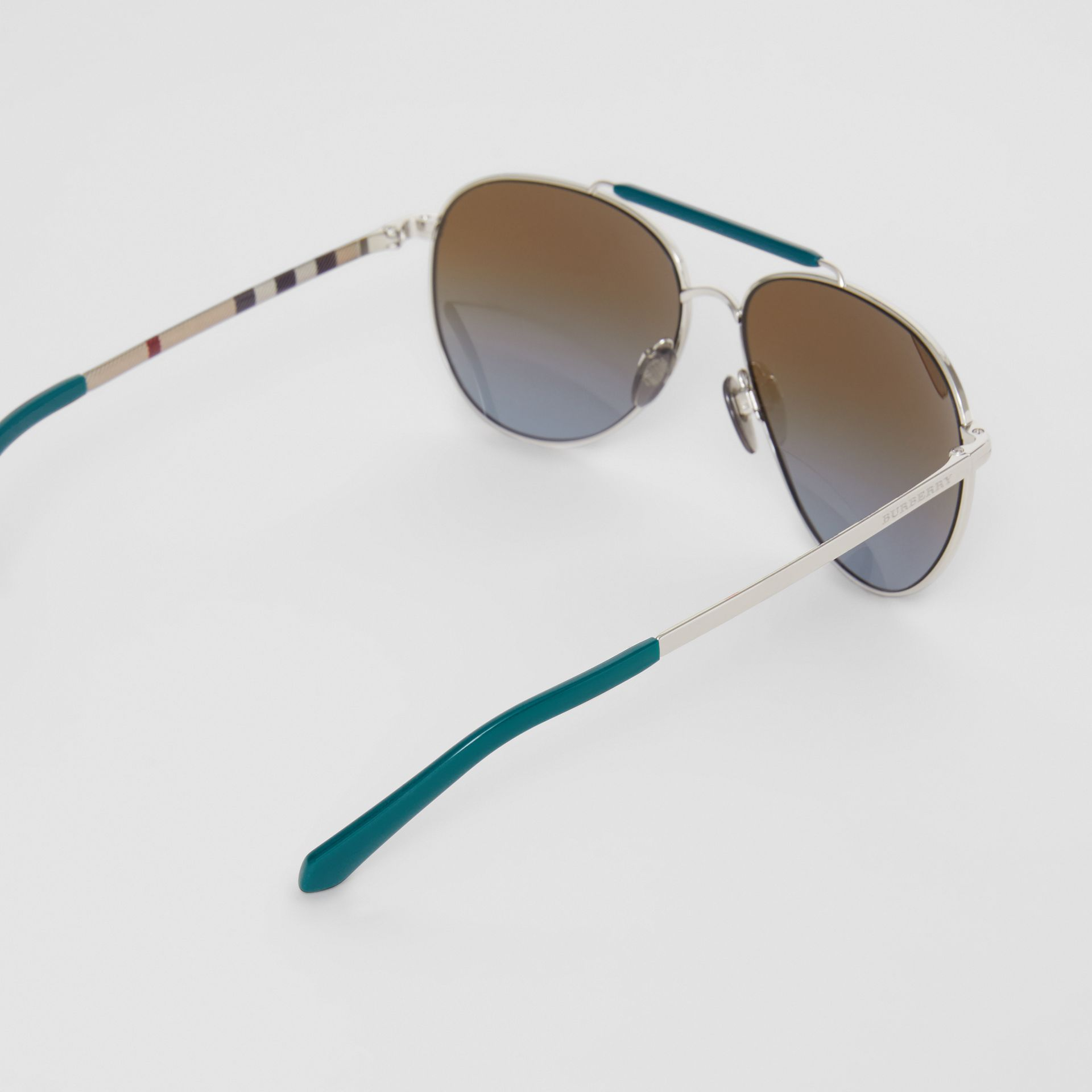Top Bar Detail Pilot Sunglasses in Teal Blue - Men | Burberry - gallery image 4