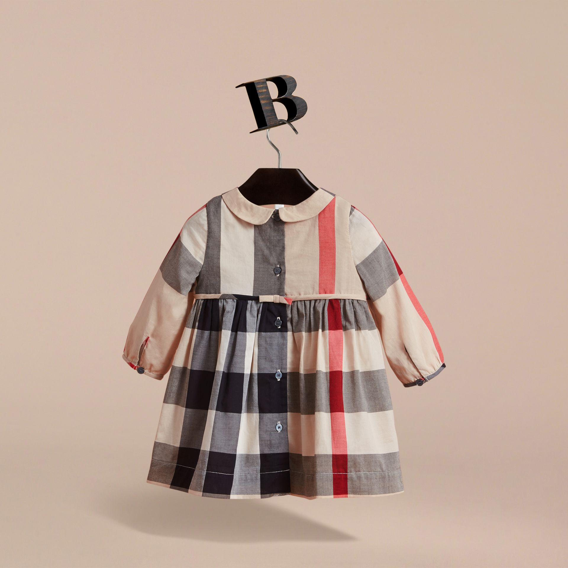 Long-sleeve Check Pintuck Bib Cotton Dress in New Classic | Burberry Hong Kong - gallery image 4