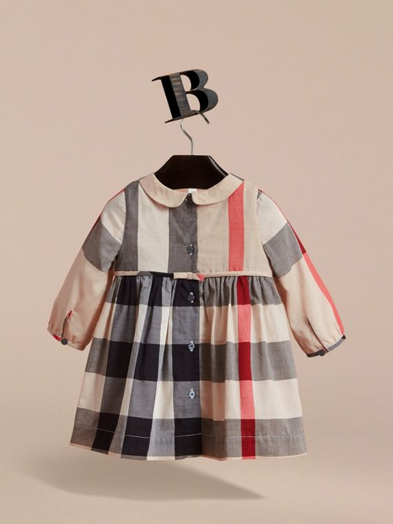 Long-sleeve Check Pintuck Bib Cotton Dress in New Classic | Burberry - cell image 3