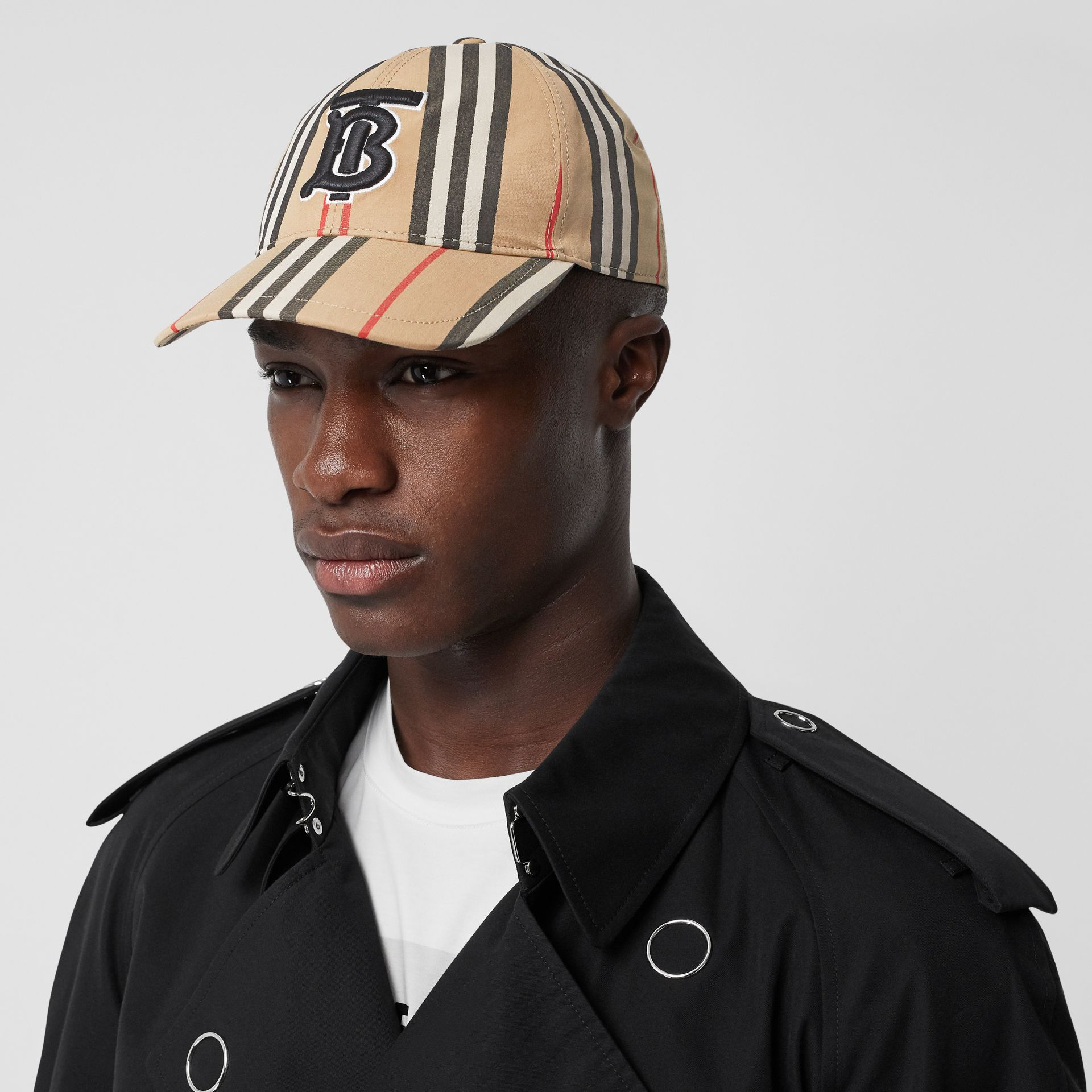 Icon Stripe Baseball Cap in Archive Beige | Burberry - gallery image 3