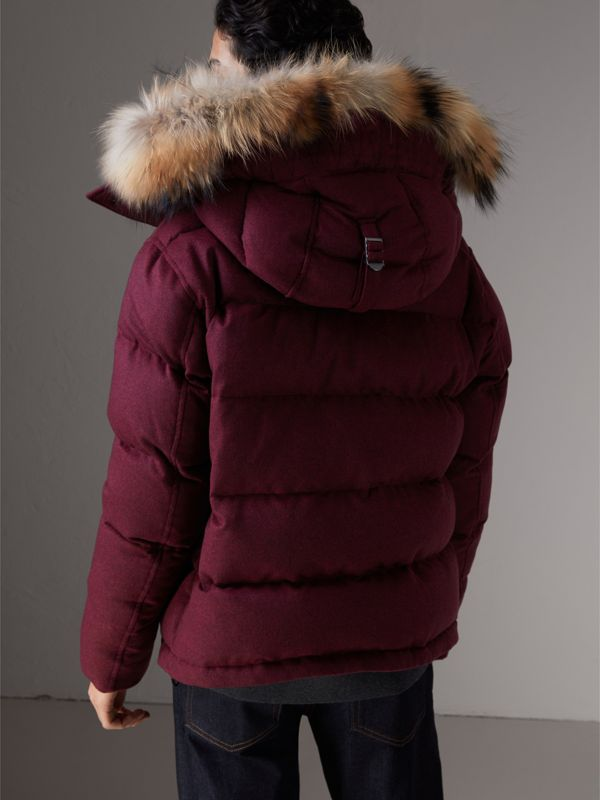 Short Detachable Fur Trim Cashmere Puffer Jacket in Dark Plum Melange - Men | Burberry - cell image 2