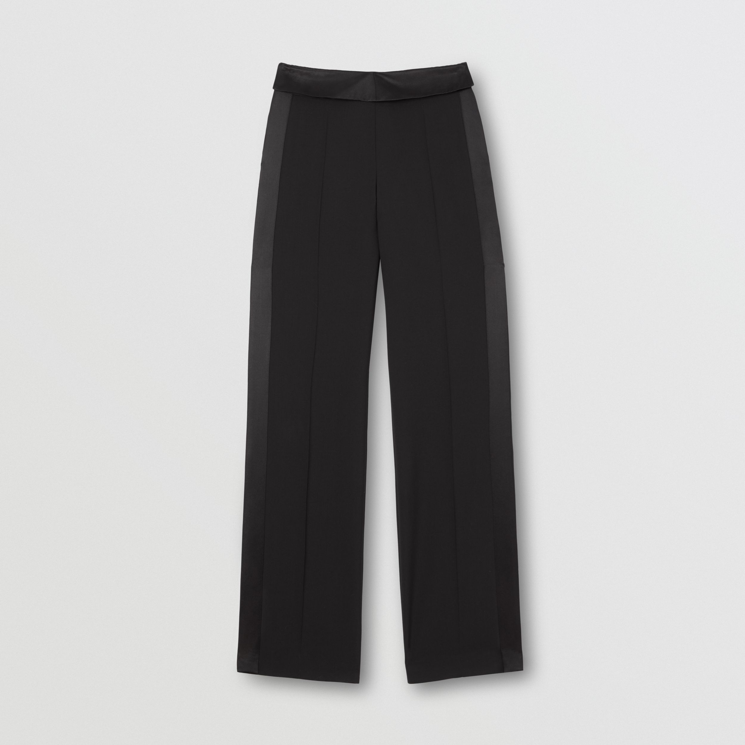 Silk Satin Trim Tumbled Wool Tailored Trousers in Black - Women | Burberry - 4