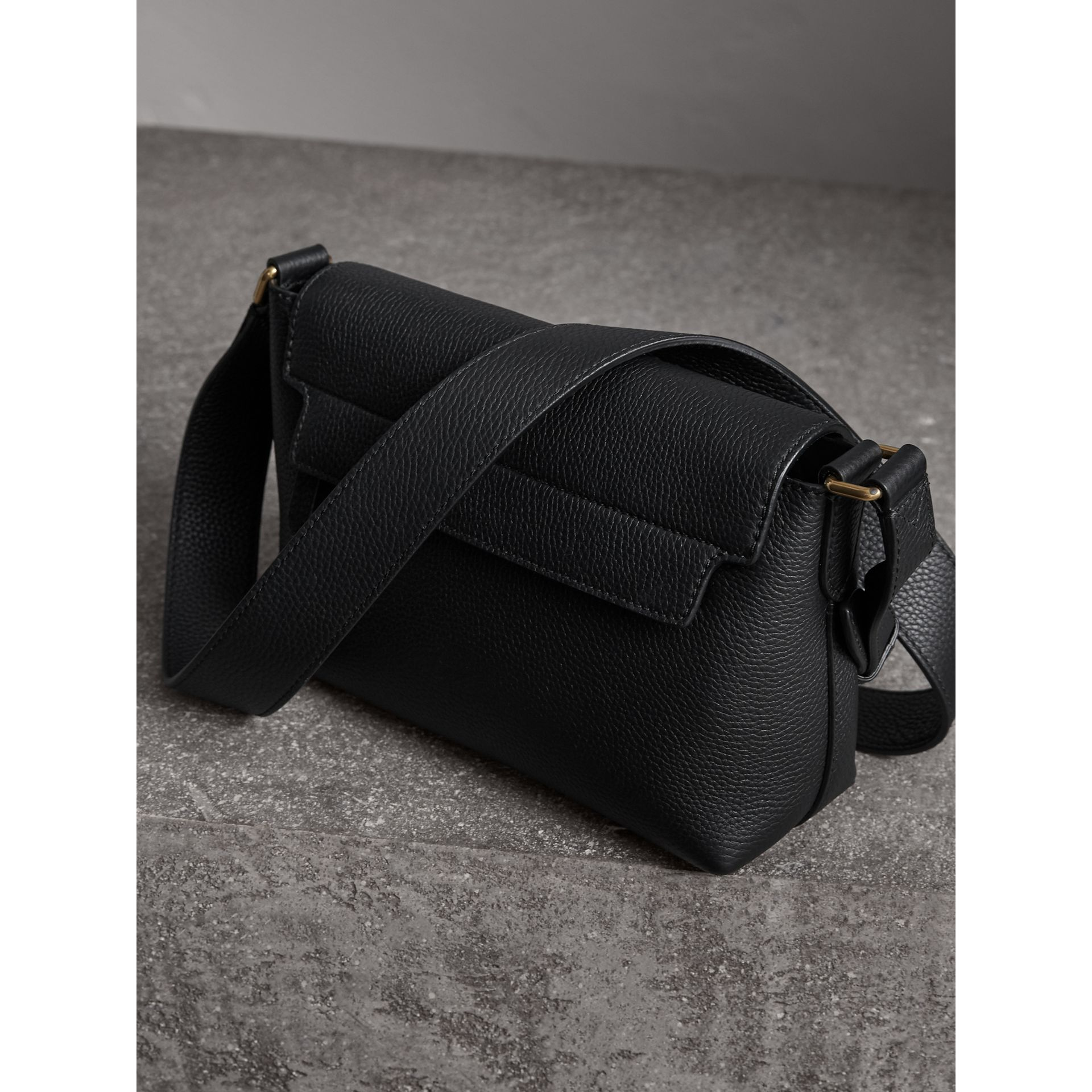 Small Embossed Leather Messenger Bag in Black | Burberry - gallery image 3