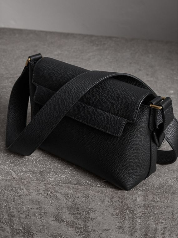 Small Embossed Leather Messenger Bag in Black - Women | Burberry Singapore - cell image 3