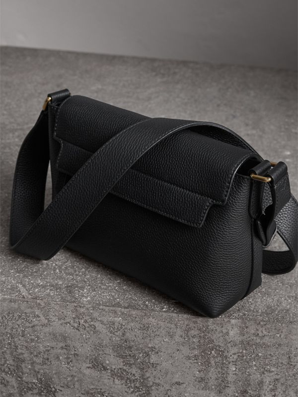 Small Embossed Leather Messenger Bag in Black | Burberry - cell image 3