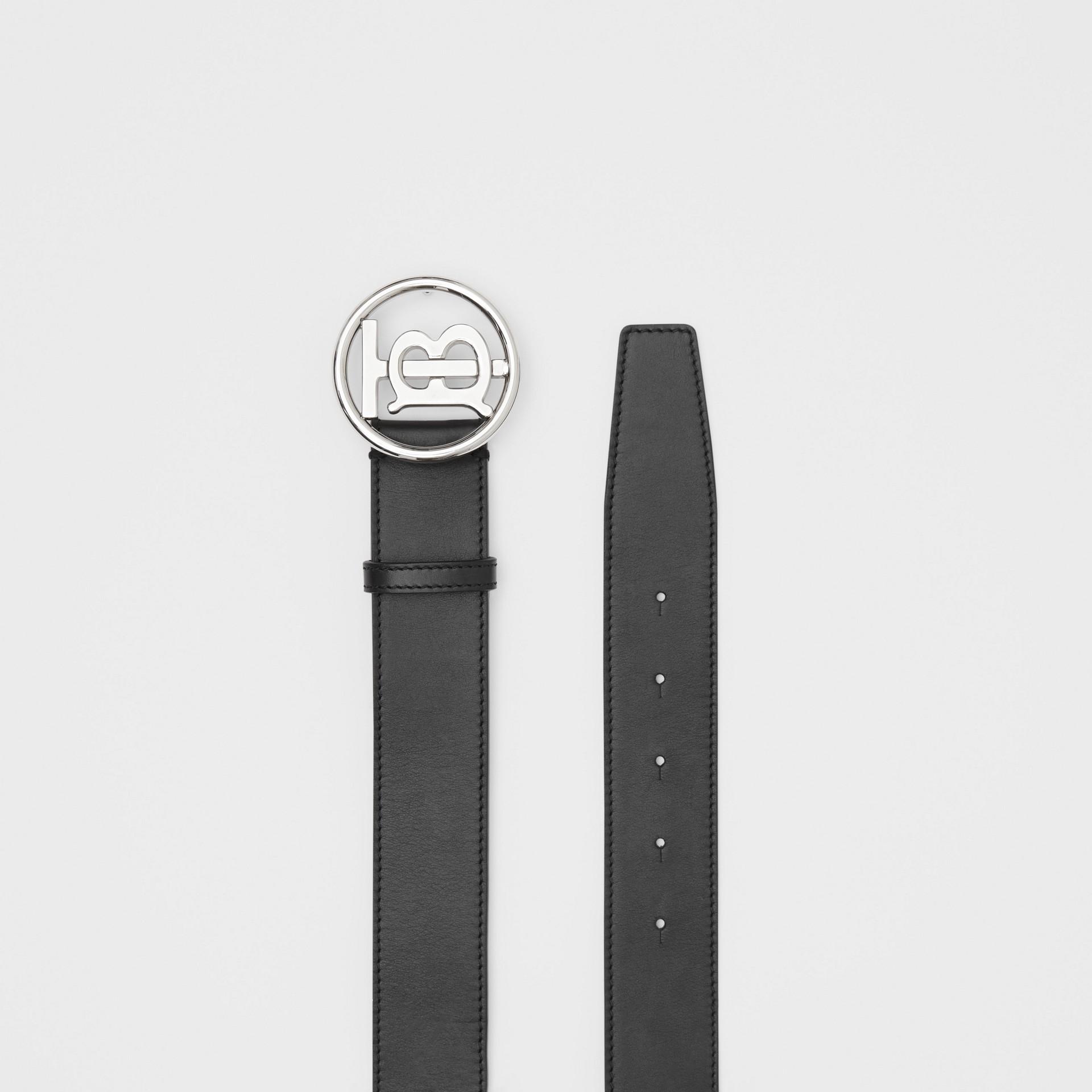 Monogram Motif Leather Belt in Black - Men | Burberry - gallery image 4