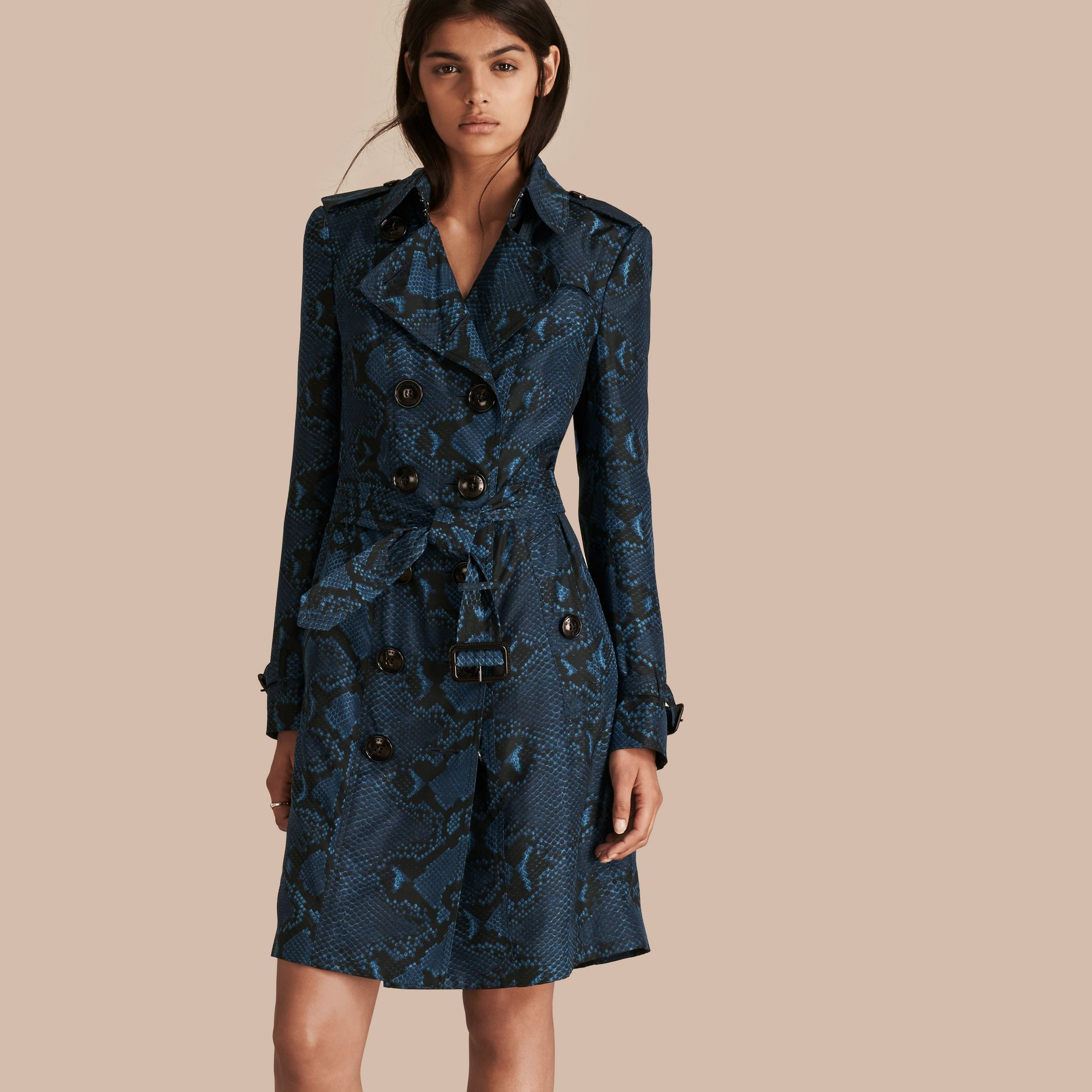 Mineral blue Python Print Silk Trench Coat Mineral Blue - gallery image 1