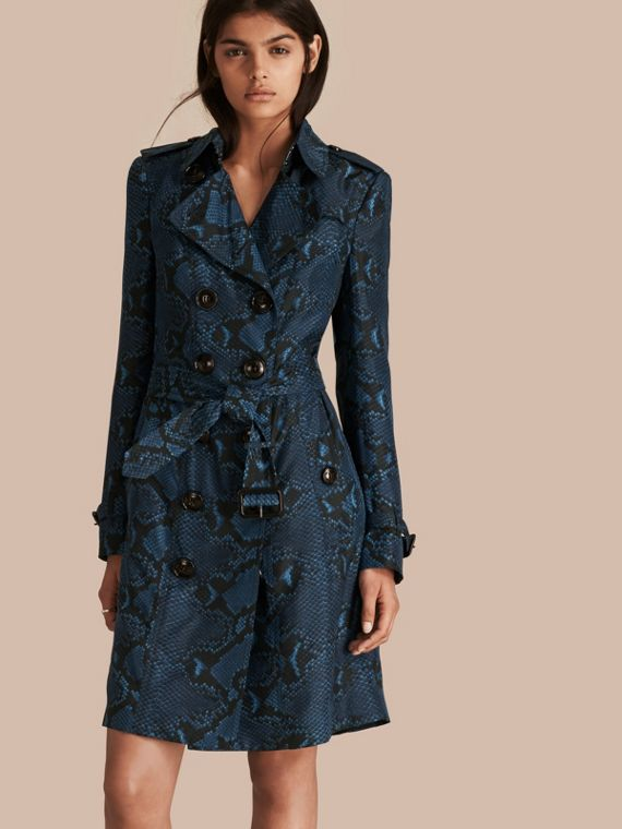Python Print Silk Trench Coat Mineral Blue