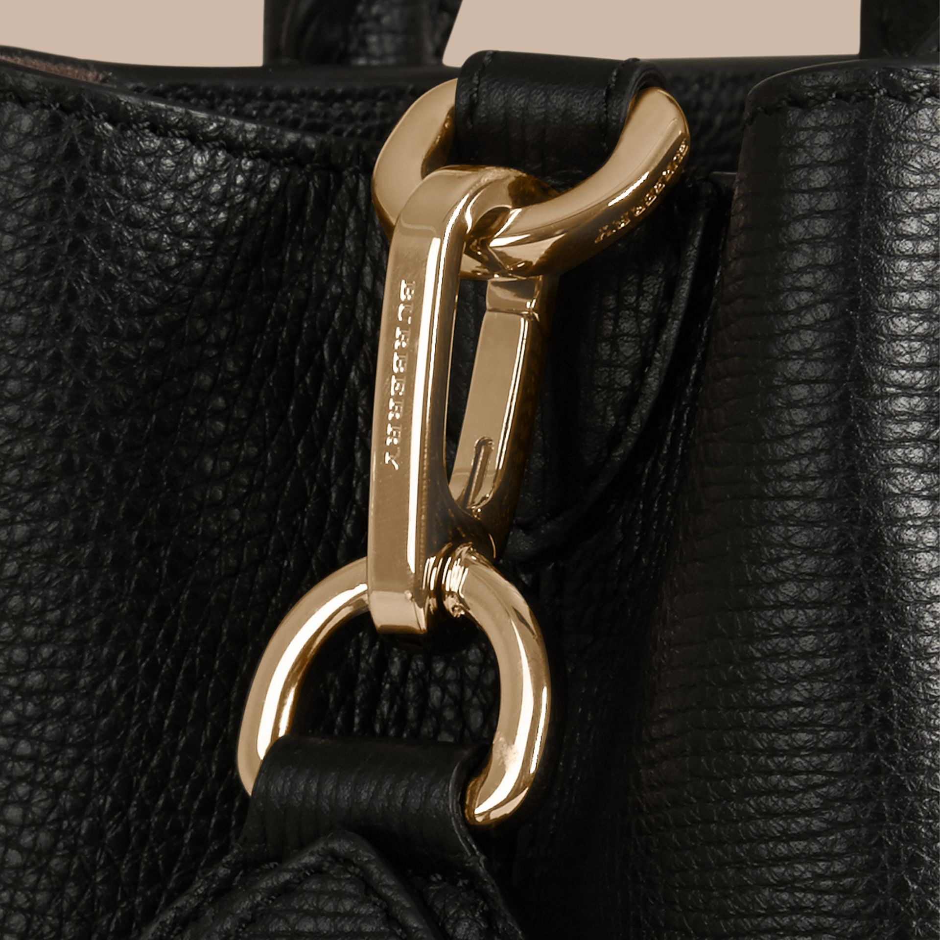 Black The Medium Saddle Bag in Grainy Bonded Leather Black - gallery image 6