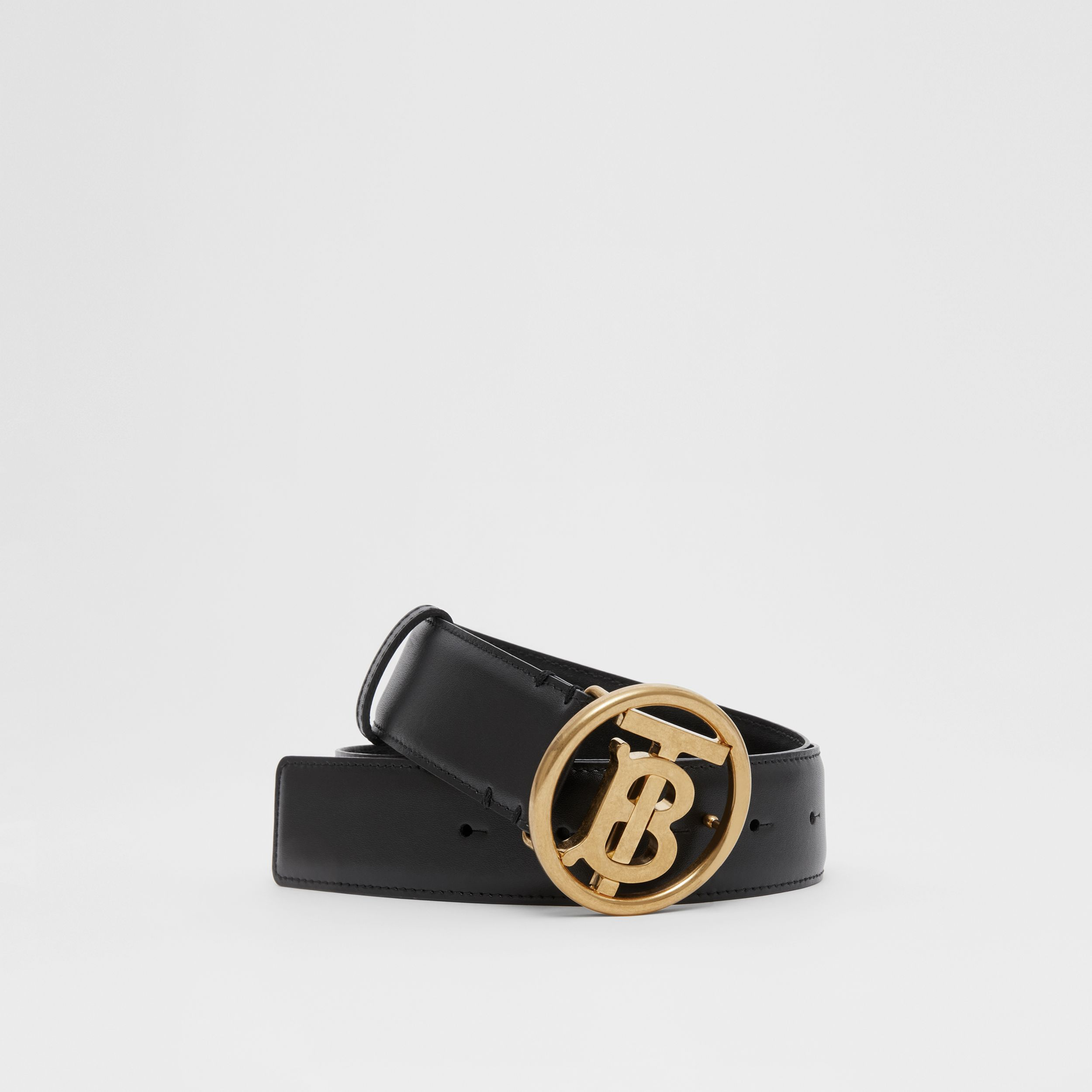 Monogram Motif Leather Belt in Black | Burberry - 1