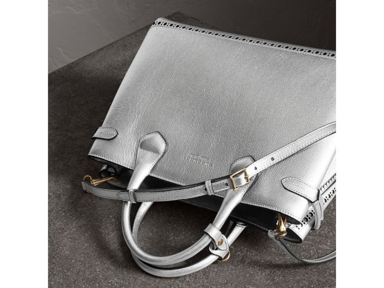 The Medium Banner in Metallic Leather with Brogue Detail in Silver - Women | Burberry - cell image 4