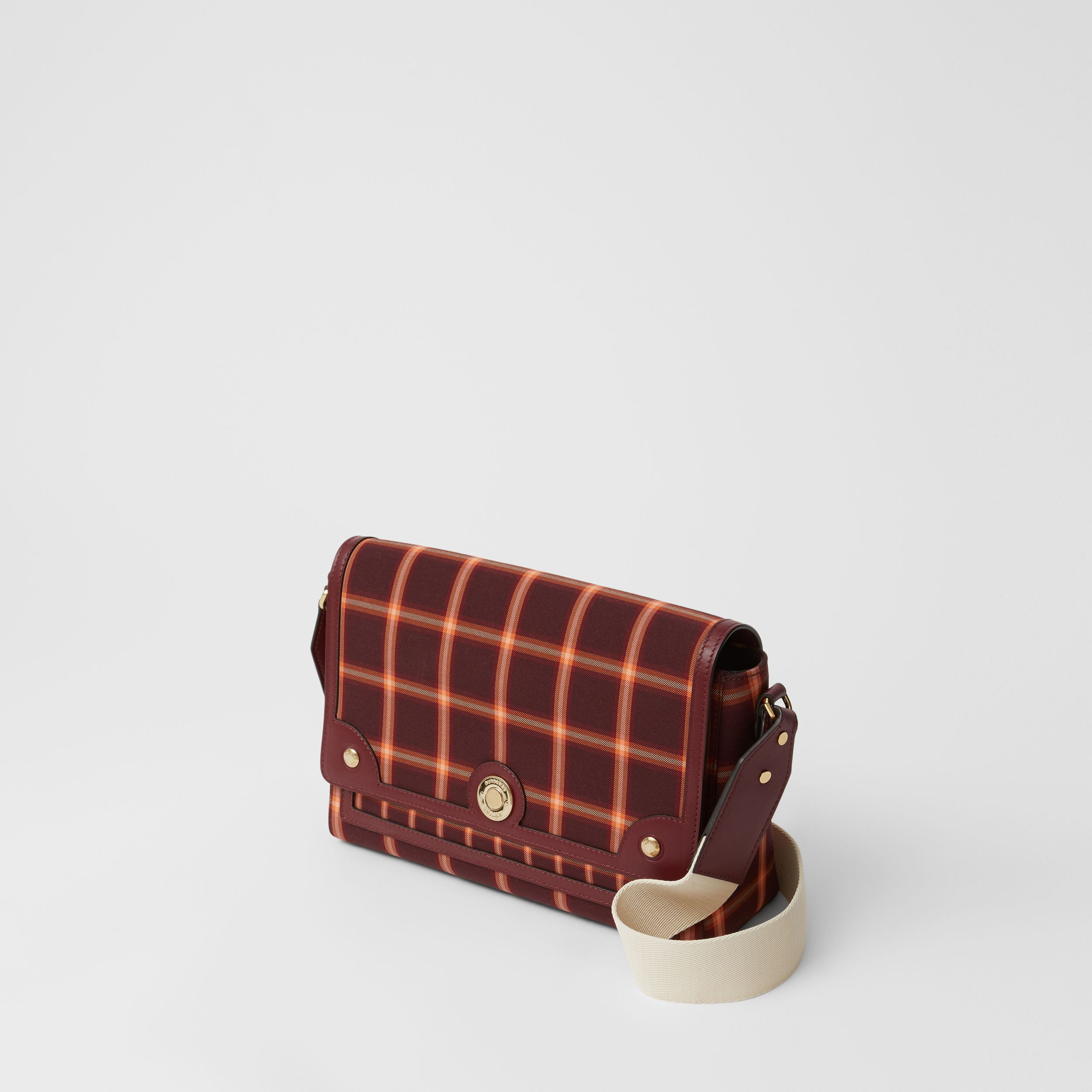 Tartan Technical Cotton Note Crossbody Bag in Burgundy - Women | Burberry Australia - 3