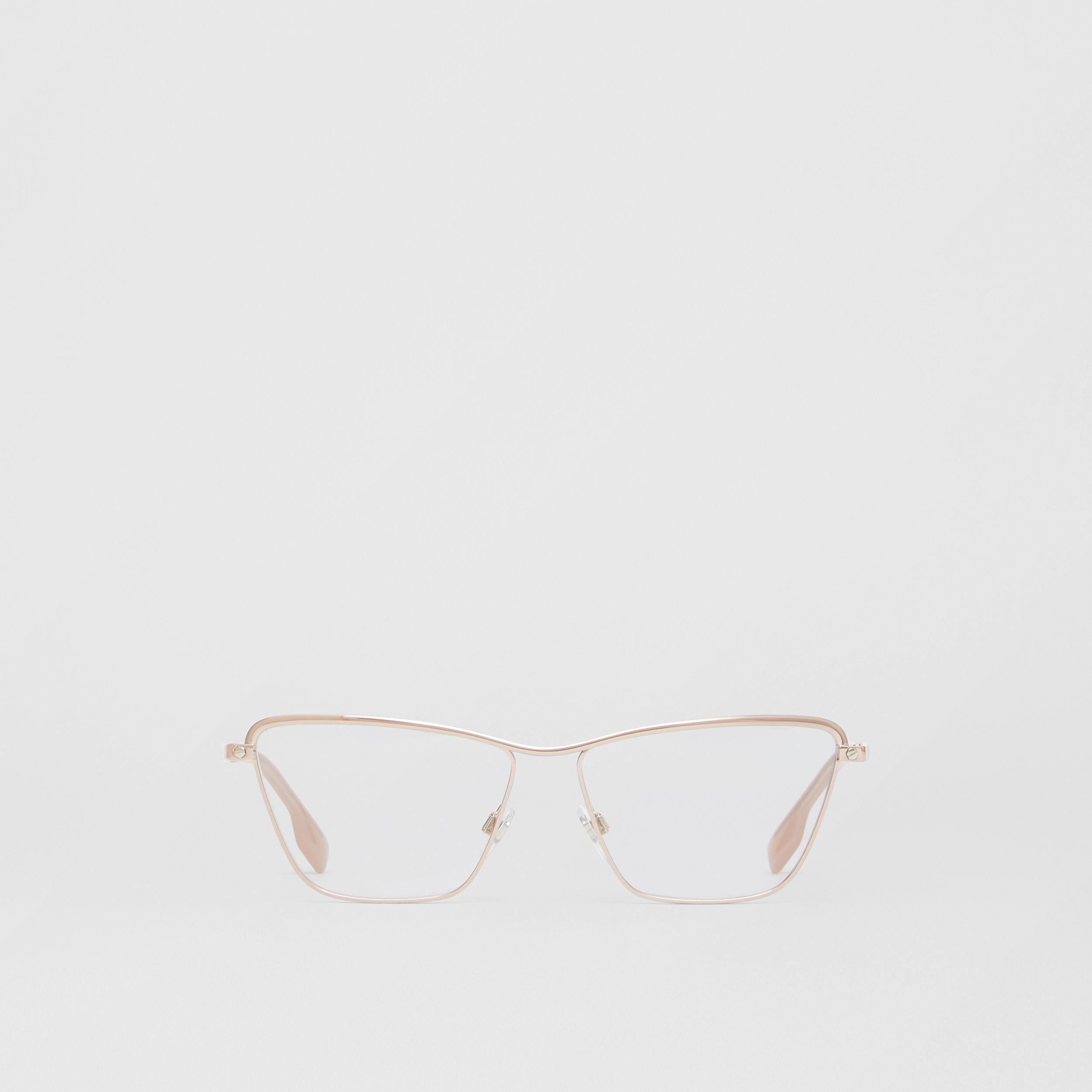 Rectangular Optical Frames in Rose Gold - Women | Burberry - 1